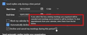 Outlook on the web automatic cancelling feature